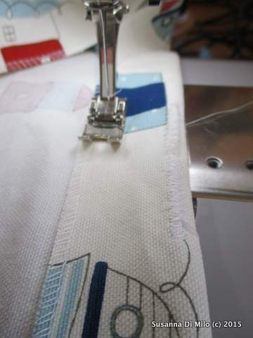 stitching the piped edge