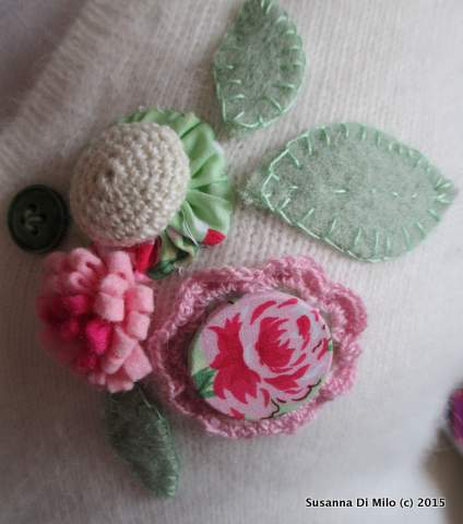 Upcycled jumper flower buttons