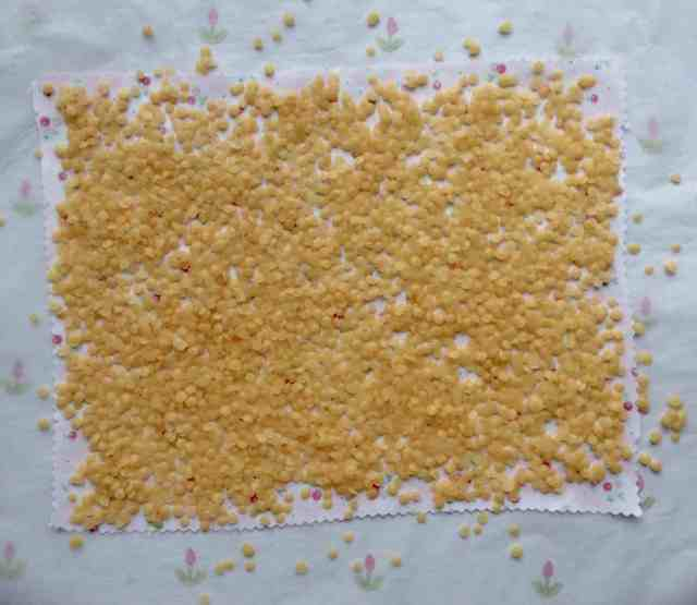 food wrap - sprinkle beeswax onto fabric
